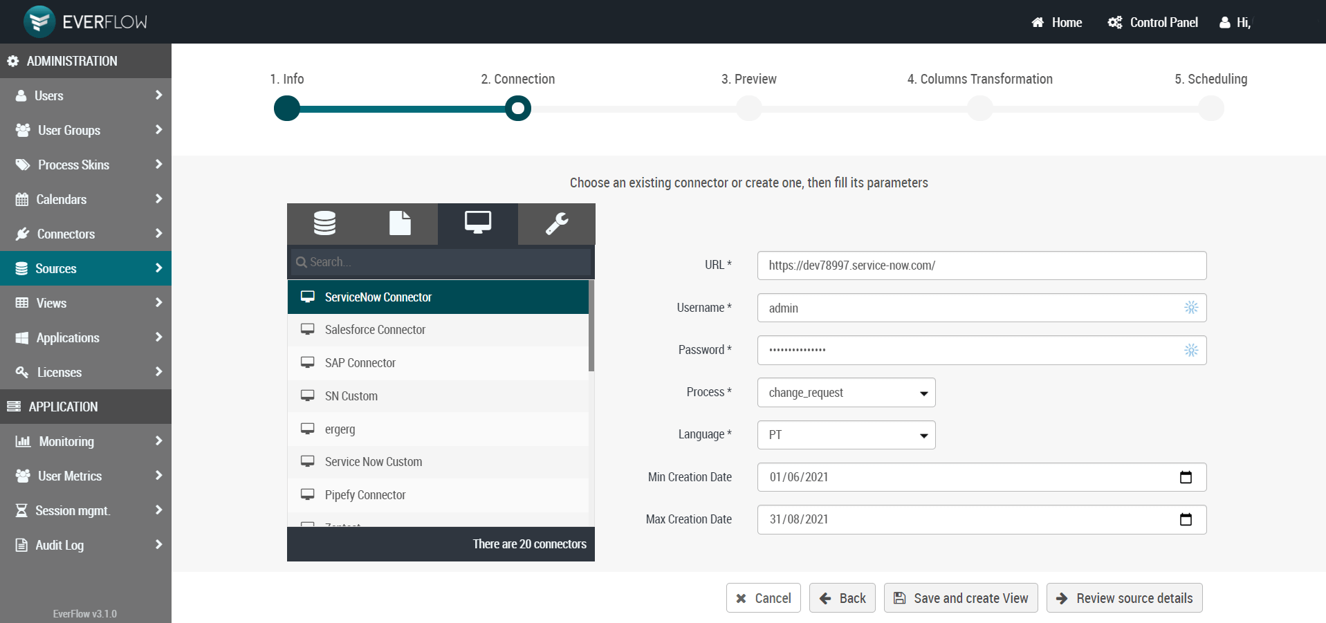 everflow servicenow connector